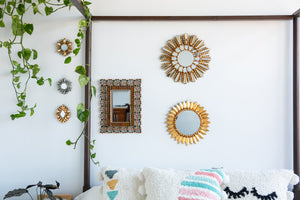 Small accent mirror in gold leaf handmade in Peru