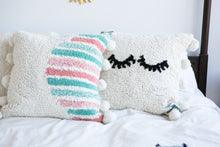 Load image into Gallery viewer, Washable pillow with eyelashes in cream and oink, teal and green accent colors