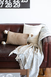 Lumbar pillow in camel with double tassel