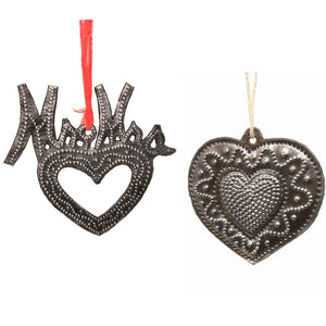 Metal Heart Haitian Metal Drum Christmas Ornaments Newlyweds - Set of 2