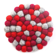 Load image into Gallery viewer, Hand Crafted Felt Ball Trivets from Nepal: Round Chakra, Reds - Global Groove (T)