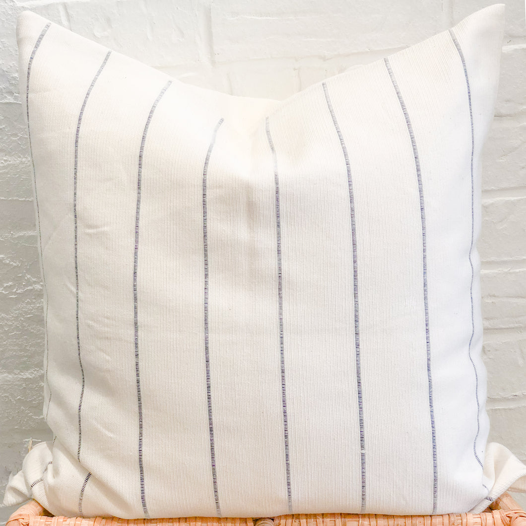 Dhalia Striped Throw Pillow in Navy Blue