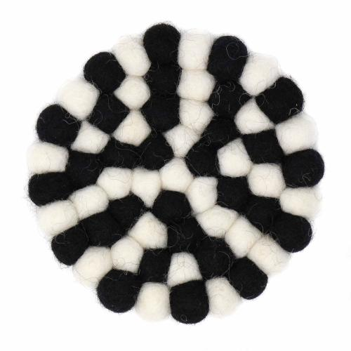 Hand Crafted Felt Ball Coasters from Nepal: 4-pack, Multicolor Black and White - Global Groove (T)