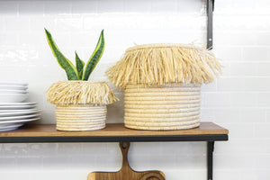 "5"" Small Fringed Boho Basket in Natural"