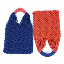 Load image into Gallery viewer, Macrame Handled Bag, Blue