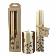 Load image into Gallery viewer, Tall Hand Painted Candles - Three in Box - Kiwanja Design - Nobunto