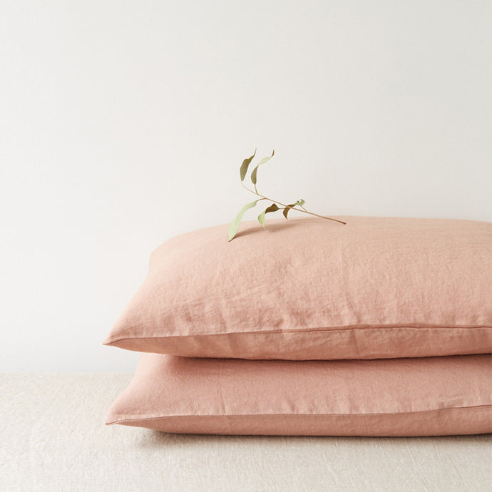 Set of Two Linen Bed Pillow Case in Cafe Creme
