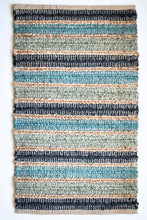 Load image into Gallery viewer, Shades of blue jute small area rug