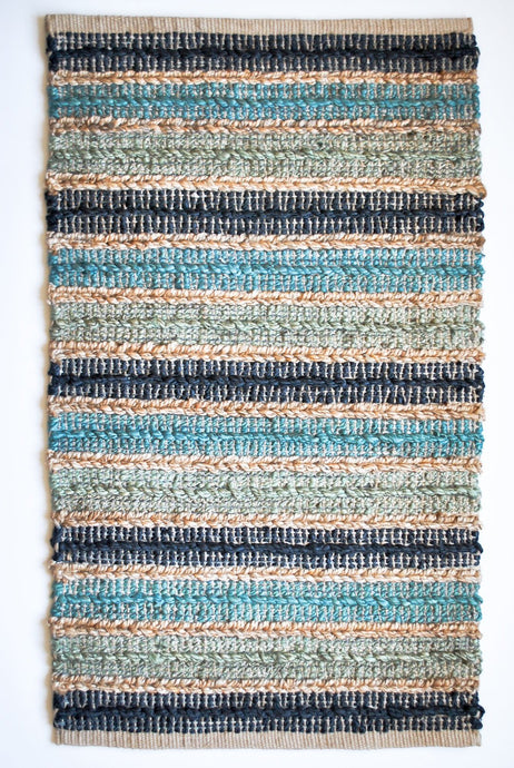 Shades of blue jute small area rug