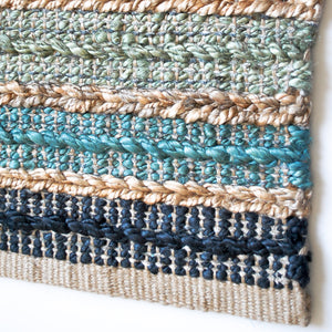 shades of blue jute striped small area rug