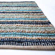 Load image into Gallery viewer, jute blue striped small area rug