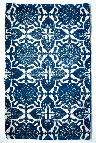Blue floral pattern small area rug