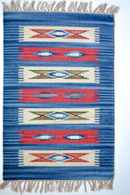 Load image into Gallery viewer, blue and red kilim rug with nomad motif