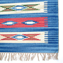 Load image into Gallery viewer, blue and red kilim small area rug