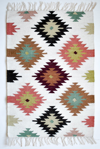 multi neutral small kilim accent rug