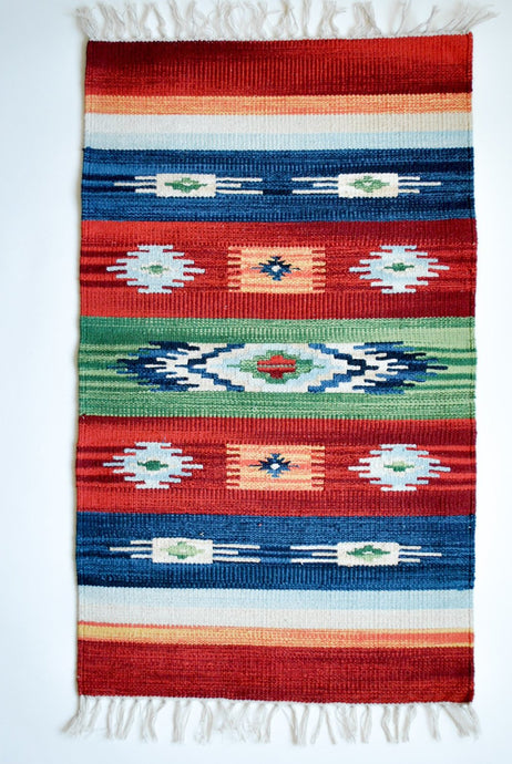 Multicolor Kilim Rug with Nomad Motifs Red Green and Blue