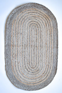 Oval two natural tone jute rug