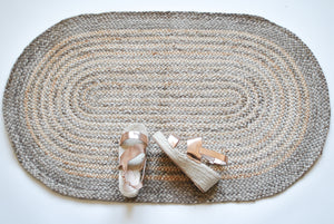 natural jute rug with oval circle design
