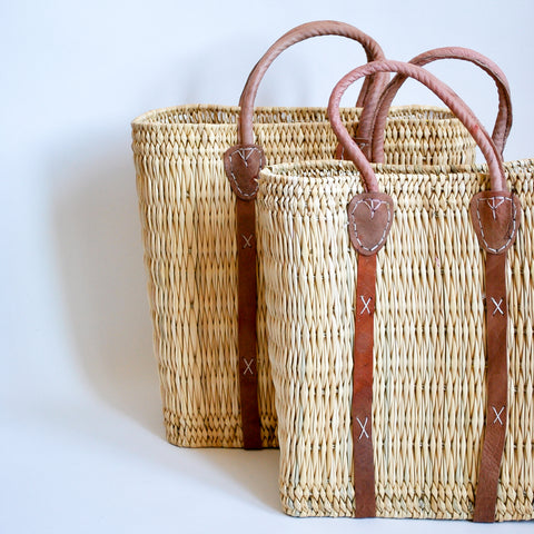 Moroccan Straw Bags with leather handles