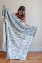 Load image into Gallery viewer, Global Throw Blanket in Charcoal and Beige