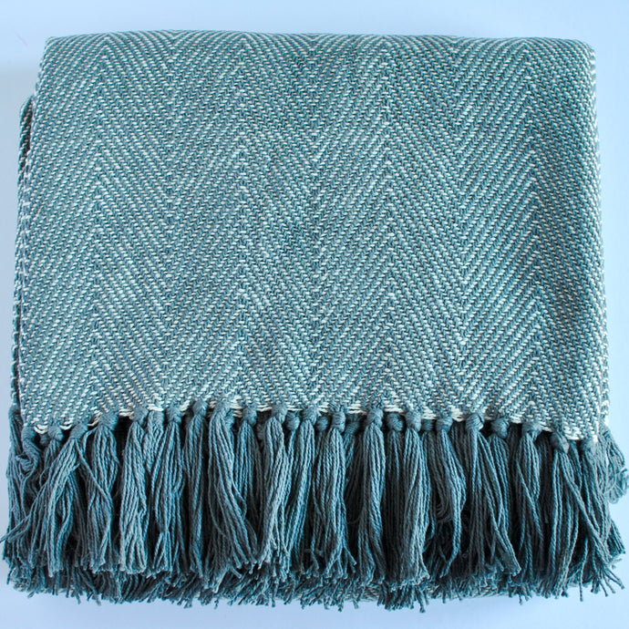 Cotton Green Throw Blanket