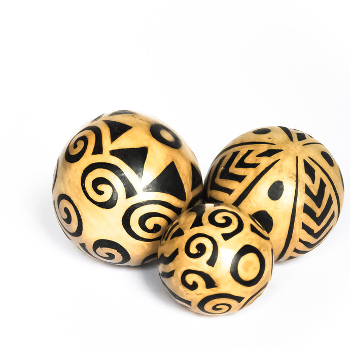 Lenca ceramic accent spheres with three different designs