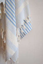 Load image into Gallery viewer, striped blue turkish towel