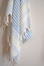 Load image into Gallery viewer, sankaty striped blue turkish towel
