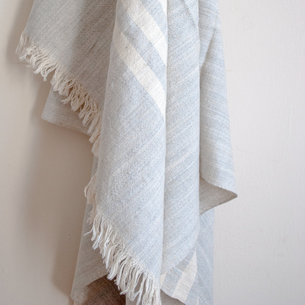 gray lady linen turkish towel in gray