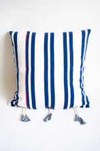 Load image into Gallery viewer, nantucket navy blue and pink striped pillow with tassels
