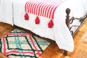Hot Pink Striped Accent Bed Runner
