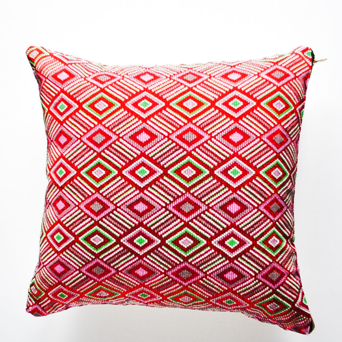 Guatemala handmade beaded accent pillow with a triangle modern design