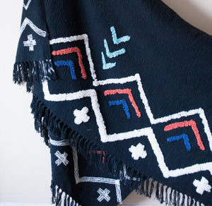 boho throw with embellishments