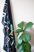 Load image into Gallery viewer, boho throw black with embellishments in orange and turquoise