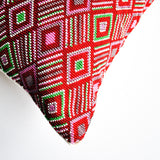 hand beaded Guatemalan red accent pillow with modern design