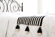 Load image into Gallery viewer, Black and White Striped Bed Runner