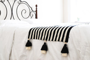 Black and White Striped Bed Runner