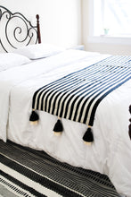 Load image into Gallery viewer, Striped Black and White Accent Bed Runner