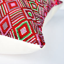 Load image into Gallery viewer, modern Guatemala hand beaded red accent pillow