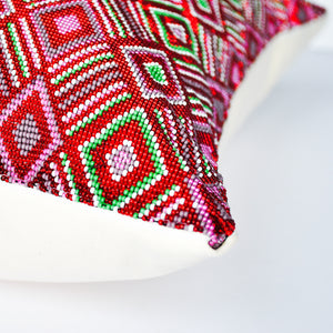 modern Guatemala hand beaded red accent pillow