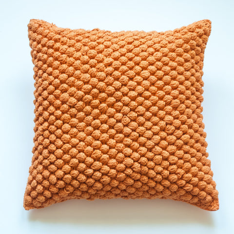 Pebbled orange 20x20 accent pillow alternative down insert included