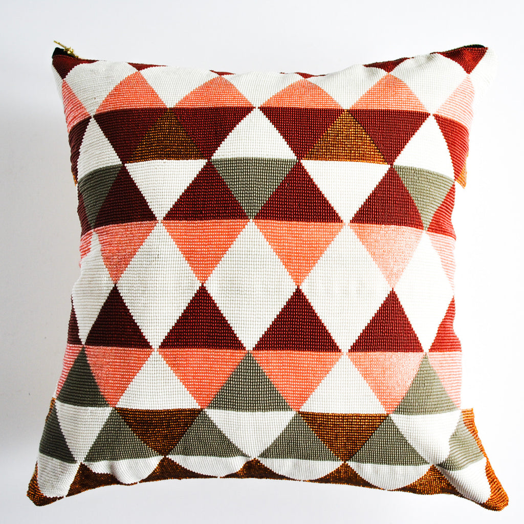 Guatemalan beaded pillow with diamond design