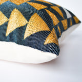 golden hand beaded Guatemalan accent pillow