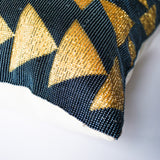 golden beaded accent pillow handmade in Guatemala