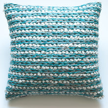 Load image into Gallery viewer, turquoise blue wool accent pillow alternative down insert included