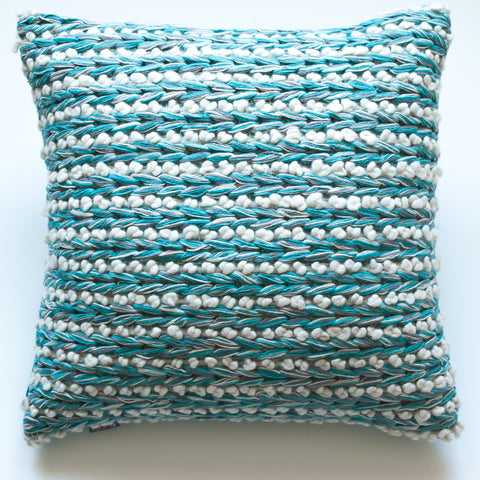 turquoise blue wool accent pillow alternative down insert included