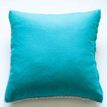 Load image into Gallery viewer, turquoise wool and cotton accent pillow alternative down insert included