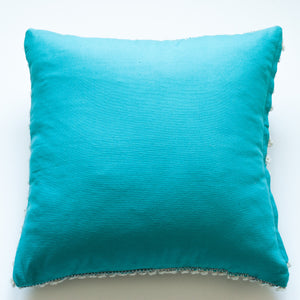 turquoise wool and cotton accent pillow alternative down insert included