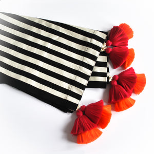 double tassel black and white striped bed runner
