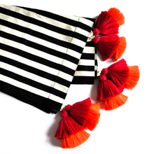 Load image into Gallery viewer, Queen size bed runner black and white striped and double pink and orange tassel